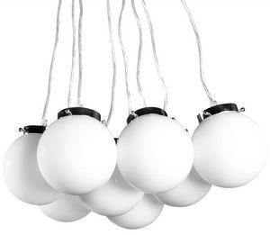 KOKOON DESIGN - lampe suspendue design avec 8 boules en verre tein - Suspension
