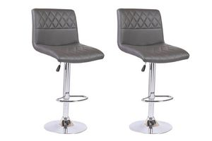 WHITE LABEL - lot de 2 chaises de bar moon similicuir gris - Chaise Haute De Bar