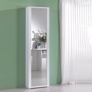 WHITE LABEL - meuble à chaussures millenium blanc avec porte mir - Meuble À Chaussures