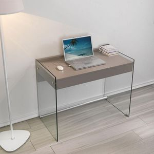 WHITE LABEL - bureau tokio 1 tiroir taupe piétement en verre - Bureau