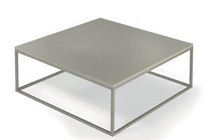 WHITE LABEL - table basse carrée mimi taupe - Table Basse Carrée