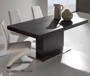 WHITE LABEL - table repas extensible domus design wengé - Table De Repas Rectangulaire