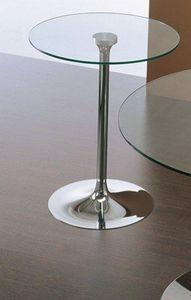 WHITE LABEL - table repas armony en verre et acier chromé 60 cm - Table De Repas Ronde