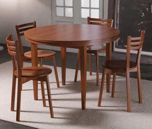 WHITE LABEL - table repas extensible eko round merisier - Table De Repas Ronde