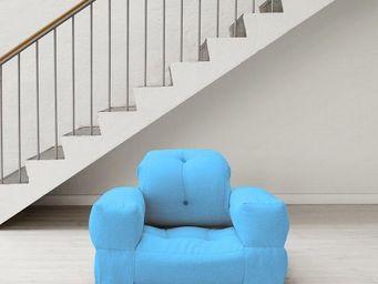 WHITE LABEL - fauteuil lit hippo futon bleu celeste couchage 90* - Fauteuil