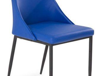 WHITE LABEL - chaise design call similicuir bleu - Chaise