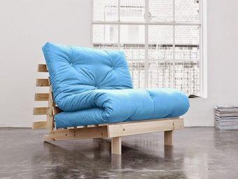 WHITE LABEL - fauteuil bz style scandinave roots futon bleu azur - Fauteuil