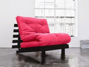 WHITE LABEL - fauteuil bz wengé roots futon rose magenta couchag - Fauteuil