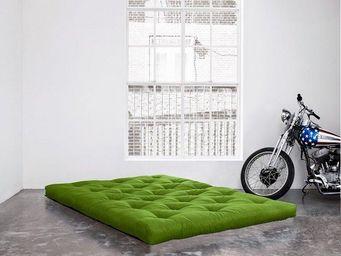 WHITE LABEL - matelas futon coco vert lime 140*200*16cm - Futon