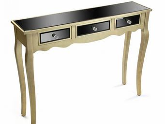WHITE LABEL - varese console en verre noir design doré 3 tiroirs - Console