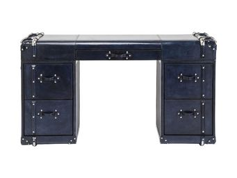 Kare Design - bureau vintage nautica bleu 5 tiroirs - Bureau