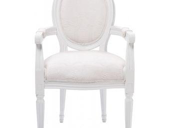 Kare Design - chaise avec accoudoirs louis croco blanc - Chaise