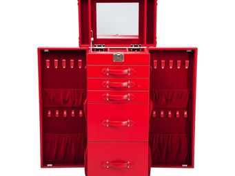 Kare Design - malle multifonctions miroir rouge - Coiffeuse