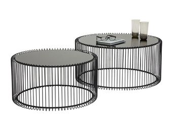 Kare Design - table basse ronde wire noir 2/set - Table Basse Ronde