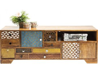 Kare Design - meuble tv en bois soleil 3 portes 9 tiroirs - Meuble Tv Hi Fi