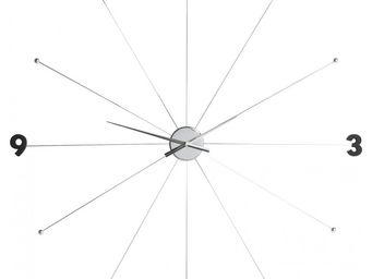 Kare Design - horloge umbrella chrome et noir - Horloge Murale