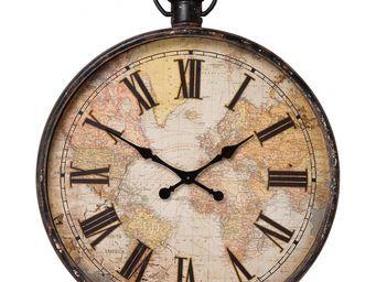 Kare Design - horloge european map 96cm - Horloge Murale