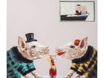 Kare Design - tableau touched pigs in love 90x90 - Tableau Décoratif