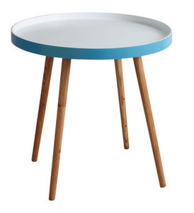 Aubry-Gaspard - table d'appoint en bois et mdf laqué bleu - Table D'appoint