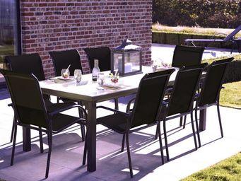 WILSA GARDEN - salon de jardin blackgarden 1 table + 8 fauteuils - Salle À Manger De Jardin