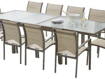 WILSA GARDEN - salon de jardin modulo 1 table + 10 fauteuils taup - Salle À Manger De Jardin