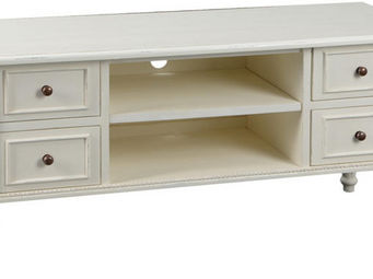 Amadeus - meuble tv bois avec tiroirs perle - Meuble Tv Hi Fi