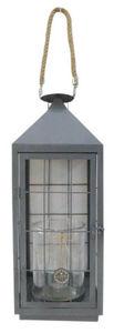 Aubry-Gaspard - lanterne de jardin en métal gris et verre - Lanterne D'extérieur
