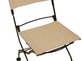 MEDICIS FRANCE - chaises pliantes blanc en fer forgé et textilène ( - Chaise De Jardin