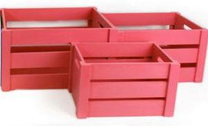 SIL - caisses de rangement pop en bois fuchsia (lot de 3 - Caisse De Rangement