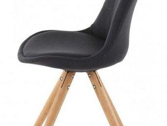 ID'CLIK - chaise tissu et bois sweet (lot de 2) gris foncé - Chaise