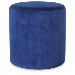 Demeure et Jardin - petit tabouret rond en velours bleu vif - Pouf