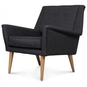 Demeure et Jardin - fauteuil design scandinave vintage 60 gris anthrac - Fauteuil