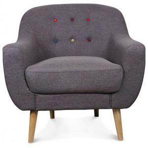 Demeure et Jardin - fauteuil crapaud scandinave gris boutons colorés b - Fauteuil