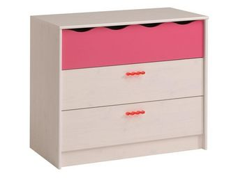 TOUSMESMEUBLES - commode 3 tiroirs blanc/rose - lola - l 91 x l 44  - Commode