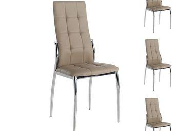 WHITE LABEL - quatuor de chaises eco-cuir cappuccino - calas - l - Chaise