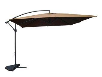 WHITE LABEL - parasol carré chocolat 3m² - chill - l 300 x l 300 - Parasol Excentré