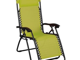 WHITE LABEL - fauteuil relax multiposition vert - spryng - l 91  - Fauteuil De Jardin Pliant