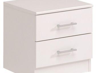 WHITE LABEL - table de chevet 2 tiroirs blanc - nity - l 40 x l  - Table De Chevet