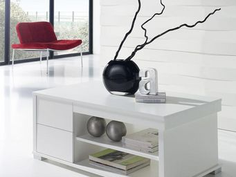 WHITE LABEL - table basse blanche relevable - nese - l 110 x l 6 - Table Basse Rectangulaire
