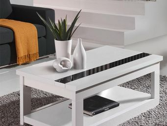 WHITE LABEL - table basse relevable blanche - upti - l 110 x l 6 - Table Basse Rectangulaire