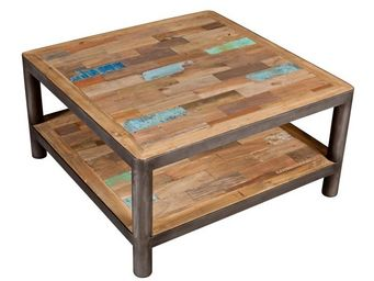 WHITE LABEL - table basse carrée 2 plateaux - modernity - l 80 x - Table Basse Rectangulaire