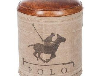 WHITE LABEL - pouf cuir et coton - polo - l 36 x l 36 x h 42 - c - Pouf