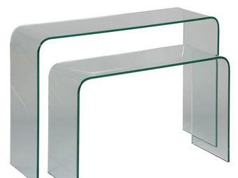 WHITE LABEL - consoles gigognes en verre - clean - l 110 x l 33  - Console