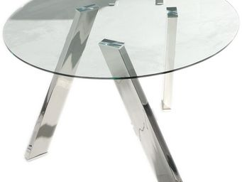 WHITE LABEL - table de repas ronde verre - bira - l 120 x l 120  - Table De Repas Ronde