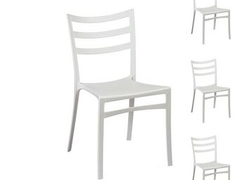 WHITE LABEL - quatuor de chaises blanches - mya - l 51 x l 47 x  - Chaise