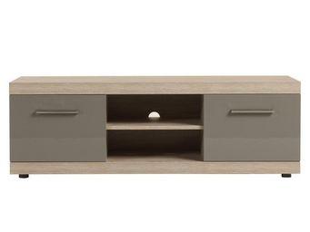 WHITE LABEL - meuble tv 2 tiroirs 1 niche - dris - l 140 x l 48  - Meuble Tv Hi Fi
