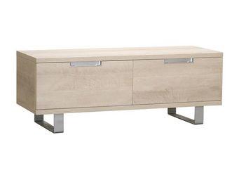 WHITE LABEL - meuble tv 2 tiroirs chêne clair - dakar - l 120 x  - Meuble Tv Hi Fi