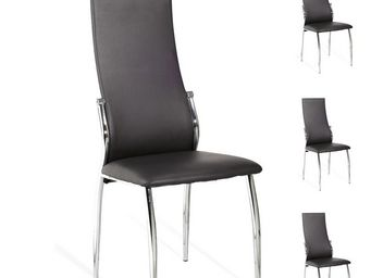 WHITE LABEL - quatuor de chaises simili cuir noir - toronto - l  - Chaise