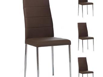 WHITE LABEL - quatuor de chaises cappuccino - alta - l 42 x l 55 - Chaise