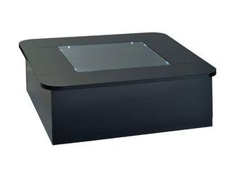 WHITE LABEL - table basse carrée vitrine à leds noir - fily - l  - Table Basse Carrée